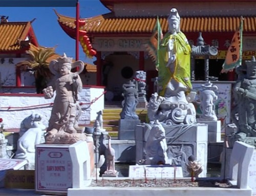 Video is a gateway to a temple rich in symbols and colors
